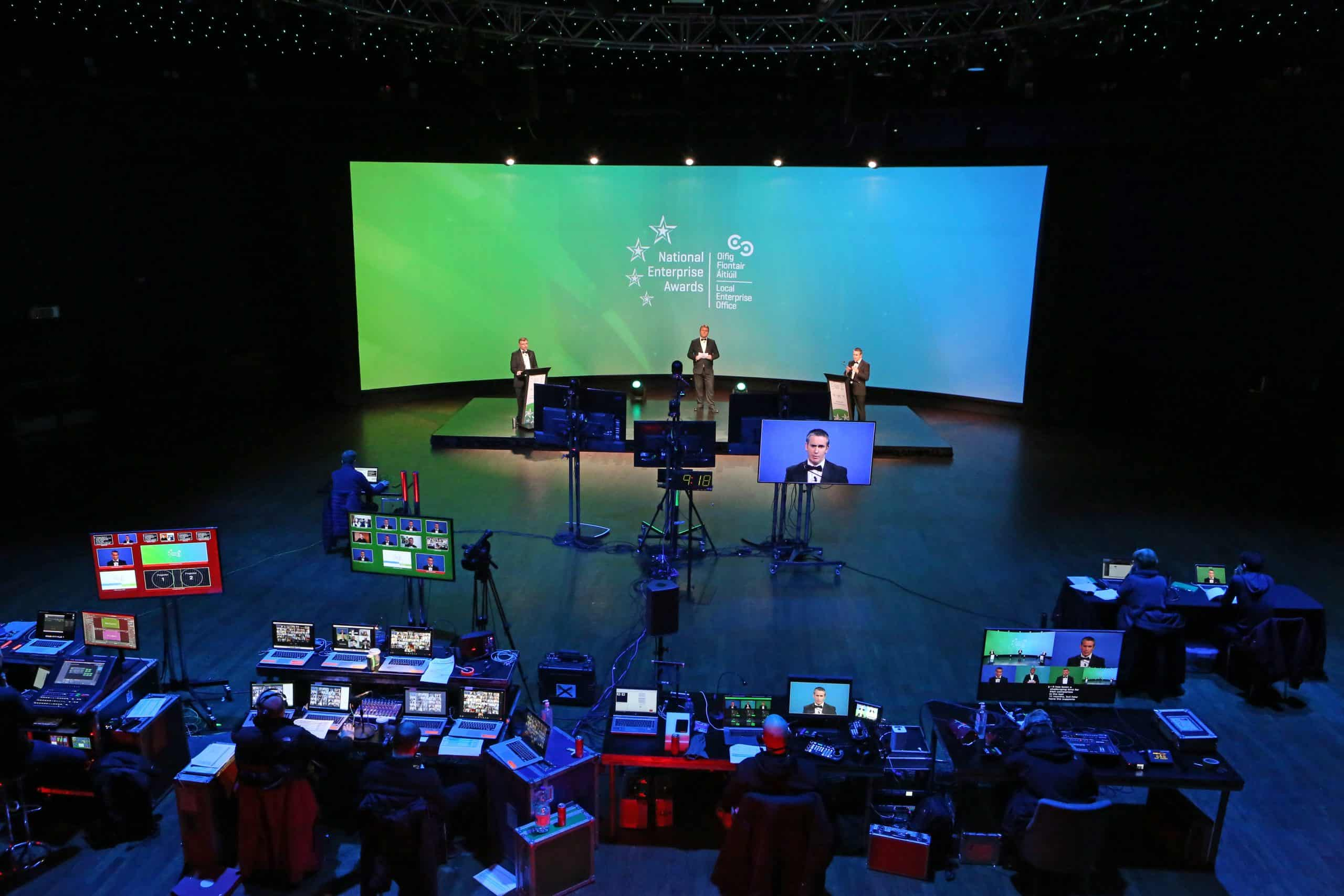 Noel Davidson hosts the National Enterprise Awards live from The Round Room of The Mansion House with Oisin Geoghegan & Minister Damien English on stage.