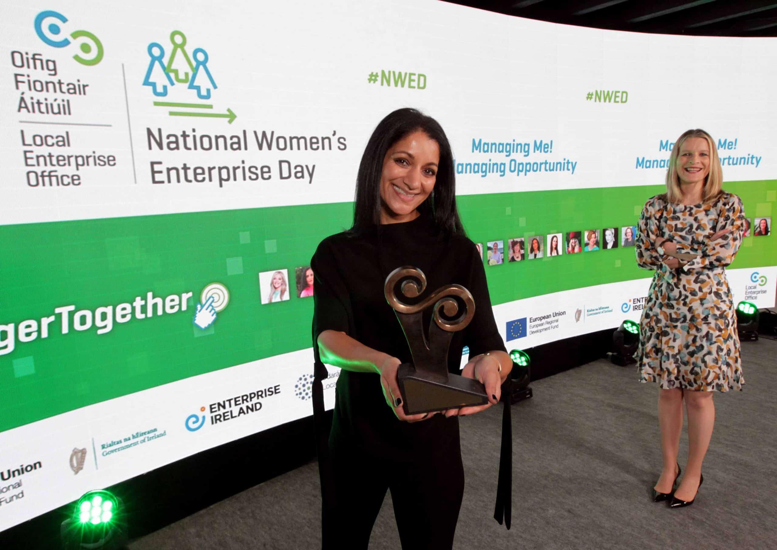 Award winning entrepreneur Sonia Deasy with National Women's Enterprise Day 2020 host Áine Kerr PHOTO: Mark Stedman
