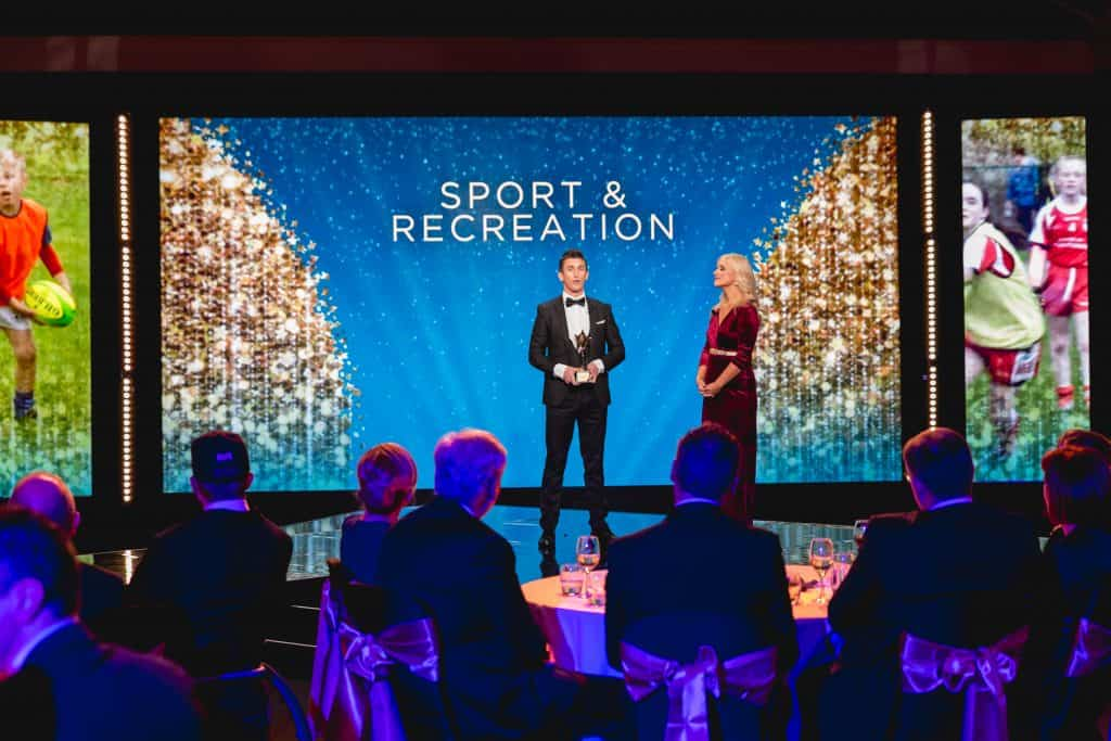 Rob Heffernan presents the Sports and Recreation award at the National Lottery Good Causes Awards 2018